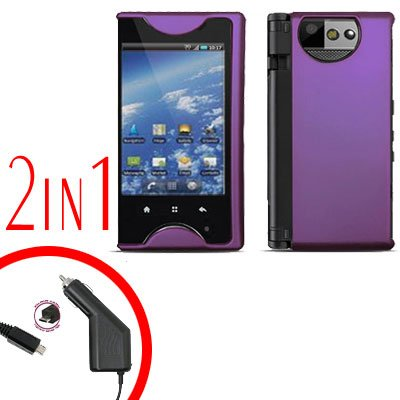 For Kyocera Echo M9300 Car Charger +Cover Hard Case Purple 2-in-1