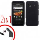 For Samsung Prevail M820 Car Charger +Hard Case Rubberized Black