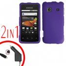 For Samsung Prevail M820 Car Charger +Hard Case Rubberized Purple