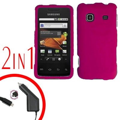 For Samsung Prevail M820 Car Charger +Hard Case Rubberized R-Pink