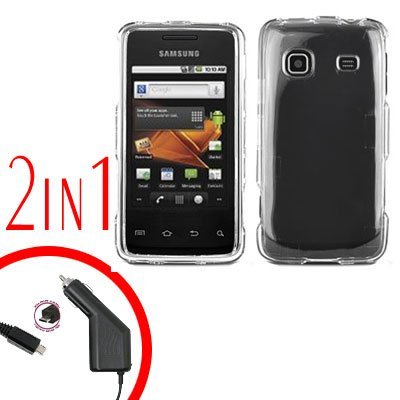 For Samsung Prevail M820 Car Charger +Hard Case Transparent Clear