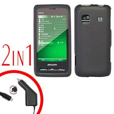 For Samsung Prevail M820 Car Charger +Hard Case Carbon Fiber