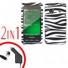 For Samsung Prevail M820 Car Charger +Hard Case Zebra