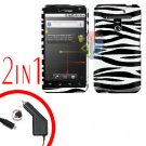 For LG Revolution VS910 Car Charger +Cover Hard Case Zebra 2-in-1