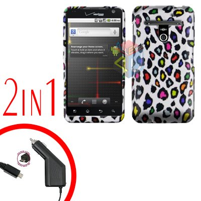For LG Revolution VS910 Car Charger +Cover Hard Case R-Leopard 2-in-1