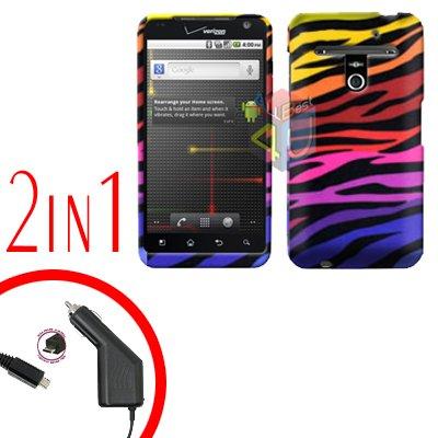 For LG Revolution VS910 Car Charger +Cover Hard Case C-Zebra 2-in-1