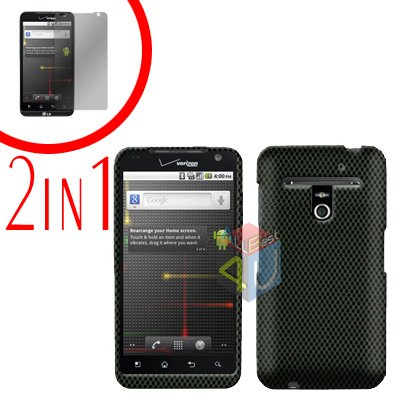 For LG Revolution VS910 Cover Hard Case Carbon Fiber + Screen Protector 2-in-1