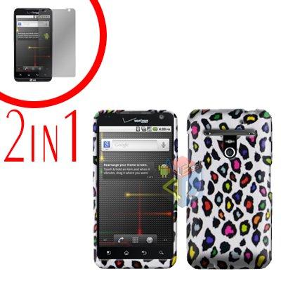 For LG Revolution VS910 Cover Hard Case R-Leopard + Screen Protector 2-in-1