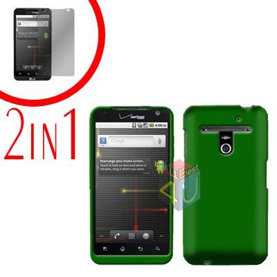 For LG Revolution VS910 Cover Hard Case Green + Screen Protector 2-in-1