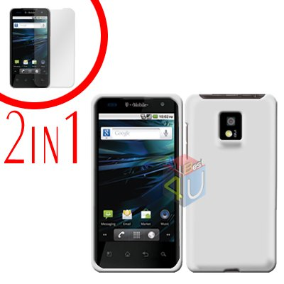 For LG Optimus 2x P990 Cover Hard Case Rubberized White +Screen 2-in-1