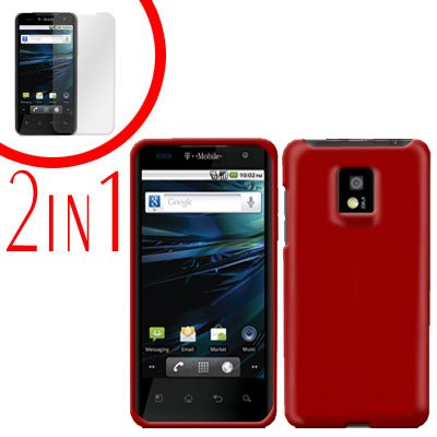 For LG Optimus 2x P990 Cover Hard Case Rubberized Red +Screen 2-in-1