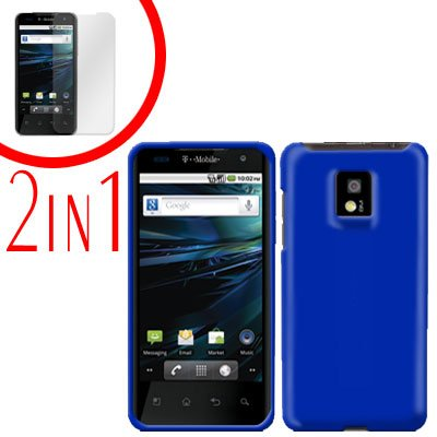 For LG Optimus 2x P990 Cover Hard Case Rubberized Blue +Screen 2-in-1
