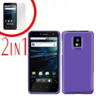 For LG Optimus 2x P990 Cover Hard Case Rubberized Purple +Screen 2-in-1