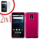 For LG Optimus 2x P990 Cover Hard Case Rubberized R-Pink +Screen 2-in-1