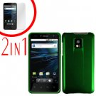 For LG Optimus 2x P990 Cover Hard Case Rubberized Green +Screen 2-in-1