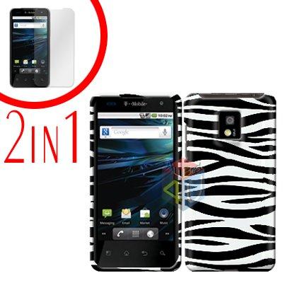 For LG Optimus 2x P990 Cover Hard Case Zebra +Screen 2-in-1