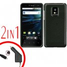 For LG Optimus 2X P990 Car Charger +Cover Hard Case Carbon Fiber 2-in-1