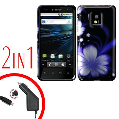 For LG Optimus 2X P990 Car Charger +Cover Hard Case B-Flower 2-in-1
