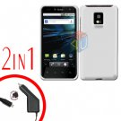 For T-Mobile LG G2x Car Charger +Cover Hard Case White 2-in-1