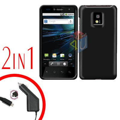 For T-Mobile LG G2x Car Charger +Cover Hard Case Black 2-in-1