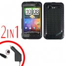For HTC Incredible S Cover Hard Case Carbon Fiber + Screen Protector 2-in-1