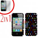 For Apple iPhone 4S 4 Cover Hard Case R-Dot +Screen 2-in-1