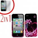 For Apple iPhone 4S 4 Cover Hard Case Love +Screen 2-in-1