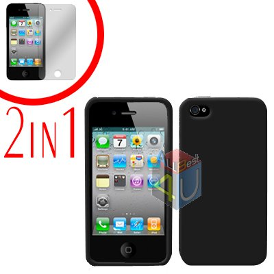 For Apple iPhone 4S 4 Cover Hard Case Black +Screen 2-in-1