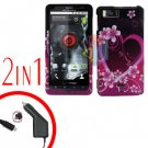 For Motorola Droid X2 Car Charger +Cover Hard Case Love 2-in-1