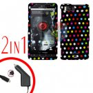 For Motorola Droid X2 Car Charger +Cover Hard Case R-Dot 2-in-1