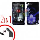For Motorola Droid X2 Car Charger +Cover Hard Case B-Flower 2-in-1
