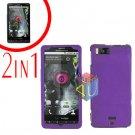For Motorola Milestone X Cover Hard Case Purple +Screen 2-in-1