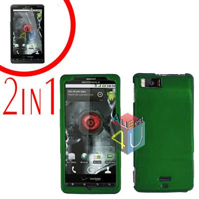 For Motorola Milestone X Cover Hard Case Green +Screen 2-in-1