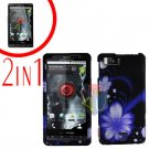 For Motorola Milestone X Cover Hard Case B-Flower +Screen 2-in-1
