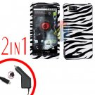For Motorola Milestone X Car Charger +Cover Hard Case Zebra 2-in-1