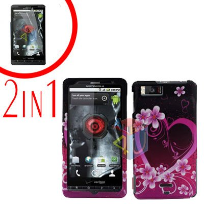 For Motorola Droid X2 Cover Hard Case Love +Screen 2-in-1