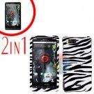 For Motorola Droid X2 Cover Hard Case Zebra +Screen 2-in-1