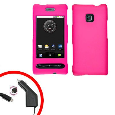 For LG Optimus GT540 Car Charger +Cover Hard Case Rubberized H-Pink 2-in-1