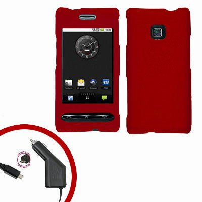 For LG Optimus GT540 Car Charger +Cover Hard Case Rubberized Red 2-in-1