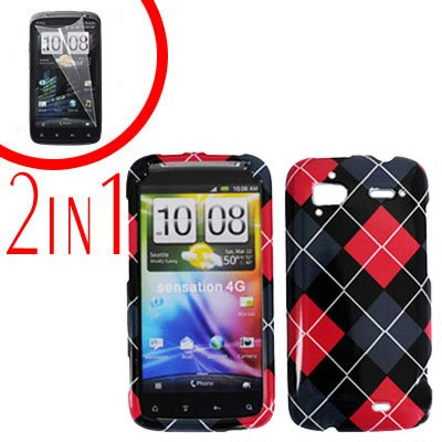For HTC Sensation 4G Cover Hard Case Agryle + Screen Protector 2-in-1