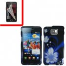 For Samsung Galaxy S II i9100 Cover Hard Case B-Flower +Screen Protector