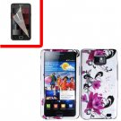 For Samsung Galaxy S II i9100 Cover Hard Case W-Flower +Screen Protector