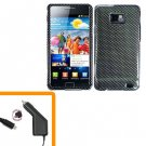 For Samsung Galaxy S II i9100 Car Charger +Hard Case Carbon Fiber