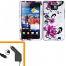 For Samsung Galaxy S II i9100 Car Charger +Hard Case W-Flower
