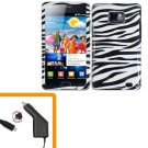 For Samsung Galaxy S II i9100 Car Charger +Hard Case Zebra