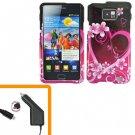 For Samsung Galaxy S II i9100 Car Charger +Hard Case Love