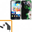 For Samsung Galaxy S II i9100 Car Charger +Hard Case GR-Flower