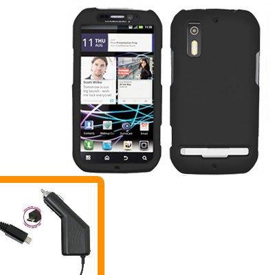For Motorola Photon 4G Car Charger +Hard Case Black