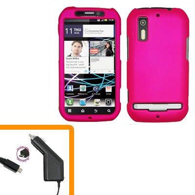 For Motorola Photon 4G Car Charger +Hard Case Hot Pink