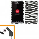 For Motorola Droid 3 XT862 Car Charger +Hard Case Zebra
